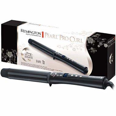 Remington CI9532 Lockenstab Pearl, 32 mm für große Locken, LCD-Display, hochwertige Keramikbeschichtung mit echten Perlen, schwarz