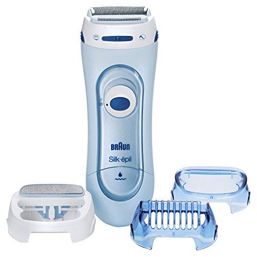 Braun LS 5160 Silk-épil Wet & Dry kabelloser Elektrorasierer, für Frauen 3-in-1 Rasierer, Trimmer und Peeling System mit 2 Extras, blau